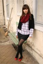 black cardigan - black skirt - white blouse - red shoes