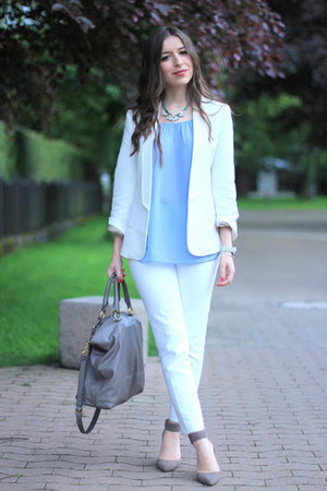 Zara pumps - Mango blazer - Prada bag - Zara pants - Massimo Dutti top