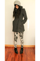 black pleather Forever 21 boots - charcoal gray cotton Forever 21 coat
