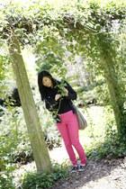 bubble gum H&M pants - black Forever 21 shoes - black H&M jacket - tan H&M bag