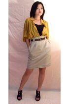 yellow shirt - black shoes - skirt - brown belt