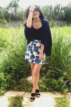 black top - blue cardigan - white skirt - black shoes