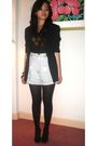 Black-blazer-black-top-blue-shorts-black-marks-and-spencers-tights-black