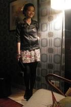 black missielle jacket - black stockings - black shoes - dress - black purse - w
