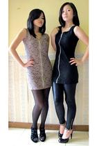 beige dress - black stockings - black shoes