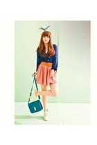 salmon dress - cream boots - navy chiffon shirt - turquoise blue bag