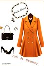 Light-orange-coat-black-bag-black-heels