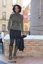 green Frye boots - black Dries Van Noten skirt - green free people cardigan - gr