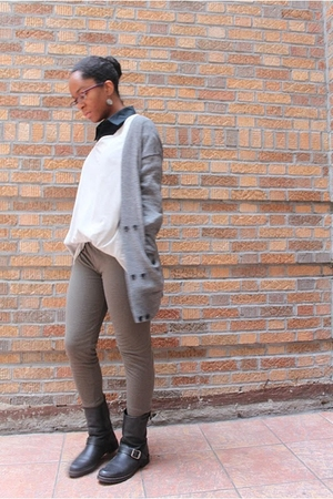 gray H&M cardigan - gray maison martin margiela t-shirt - gray rick owens lilies