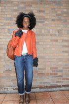 orange jacket - white DKNY shirt - brown Frye boots - brown sol purse - gray Mis