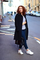 black MaxMara coat - navy Massimo Dutti jeans - white Zara shirt