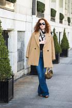 burnt orange Tommy Hilfiger boots - beige Massimo Dutti coat - navy Zara jeans
