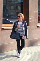 white bcbg max azria shirt - black Dolce & Gabbana jacket - black Prada bag