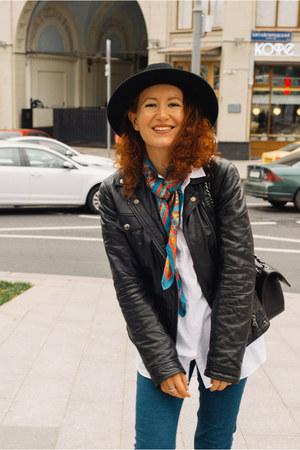 chartreuse Eleganzza scarf - sky blue Zara jeans - black Dolce & Gabbana jacket