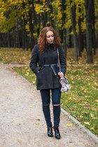 charcoal gray see by chloé coat - black hogan boots - navy Pull & Bear jeans