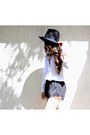 Black-forever-21-hat-black-forever-21-shorts-white-forever-21-top