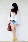White-chiffon-forever-21-shirt-brown-ross-bag