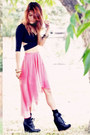 Black-criss-cross-top-nasty-gal-top-bubble-gum-high-low-skirt-nasty-gal-skirt