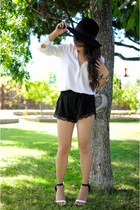 black fedora Forever 21 hat - black lace Forever 21 shorts