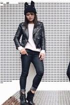 black skinny Forever 21 jeans - black beanie Forever 21 hat