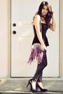 Black-studded-ross-heels-purple-fringed-just-fab-purse