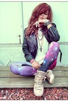 galaxy romwe leggings - moto Nasty Gal jacket - wedges Nasty Gal sneakers