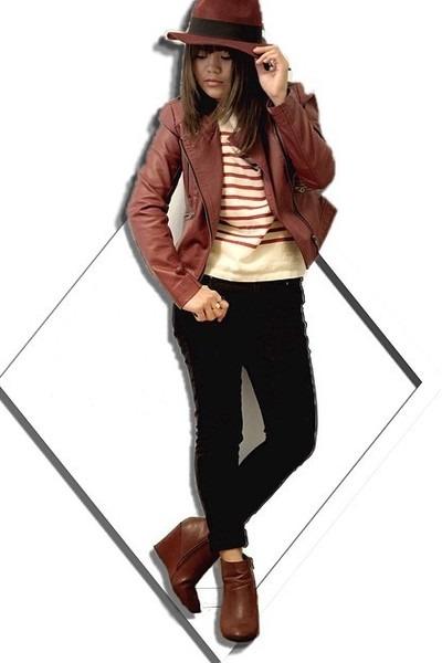 black skinny Forever 21 jeans - brick red fedora Forever 21 hat