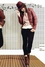 Black-skinny-forever-21-jeans-brick-red-fedora-forever-21-hat