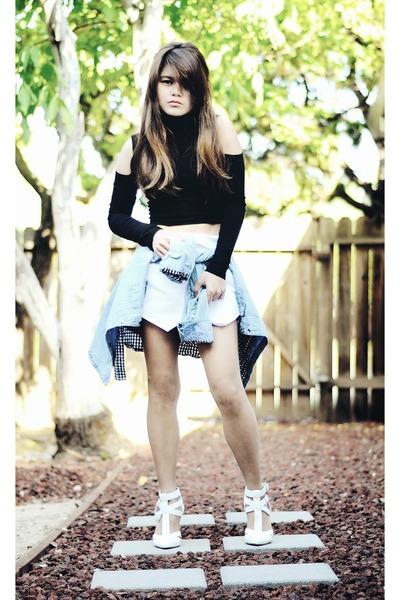 light blue denim Bongo shirt - white origami Sheinsidecom skirt