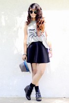 heather gray cat print Forever 21 top - black skater skirt Forever 21 skirt