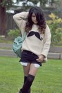 Black-cutoffs-forever-21-shorts-ivory-cable-knit-romwe-jumper
