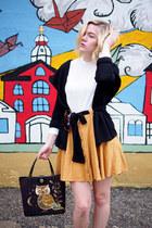 dark brown vintage bag - white Forever 21 blouse - light orange thrifted skirt