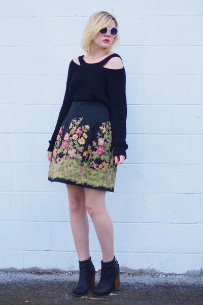 black vintage skirt - black thrifted sweater