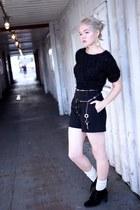black Zara shorts - black cable knit H&M sweater