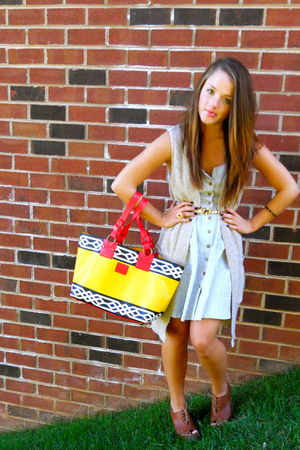 yellow dvf bag - brown seychelles shoes - blue Urban Outfitters dress - beige H&