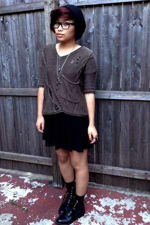 olive green Forever 21 sweater - black vintage boots - black beanie H&M hat