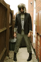 navy blazer - olive green shirt - heather gray pants - black boots