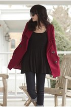 maroon coat - black For Love & Lemons dress - navy jeans