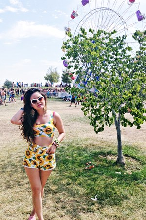 yellow crop top top - shorts shorts