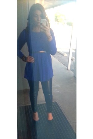 blue f21 dress - forest green Lolashoetique shoes - black Mango leggings