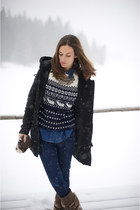navy Alcott sweater - dark brown Stradivarius boots - black peuterey coat