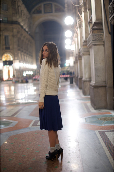 white sweater Zara sweater - silver Marni socks - plissed skirt YSL skirt