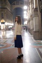 white sweater Zara sweater - silver Marni socks - plissed skirt YSL skirt