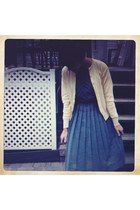 charcoal gray vintage from Ebay dress - light yellow vintage from etsy cardigan