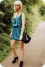 Black-miss-selfridges-boots-teal-love-struck-dress-black-zandra-rhodes-bag