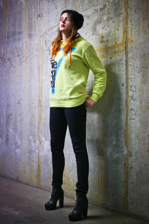 black deezee boots - black StaffbyMaff hat - lime green NewYorker blouse