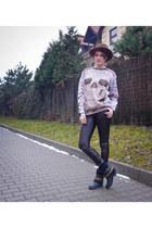 brown vintage hat - dark brown no name pants - dark gray Army Gets Down blouse