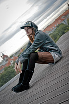 silver Hustla hat - black Emu boots - silver Orsay shorts