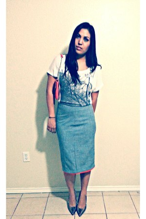 heather gray handmade skirt - white Forever 21 shirt - Target heels
