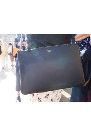 black Celine bag - beige Zara pants - black Zara t-shirt